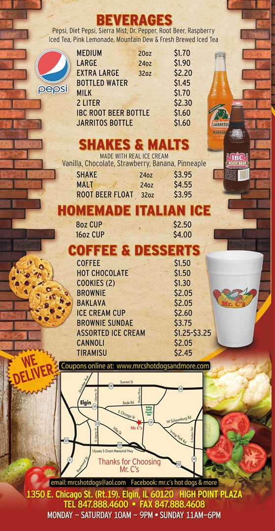Restaurant Menu Drinks  Italian Ice  Shakes  Dessert