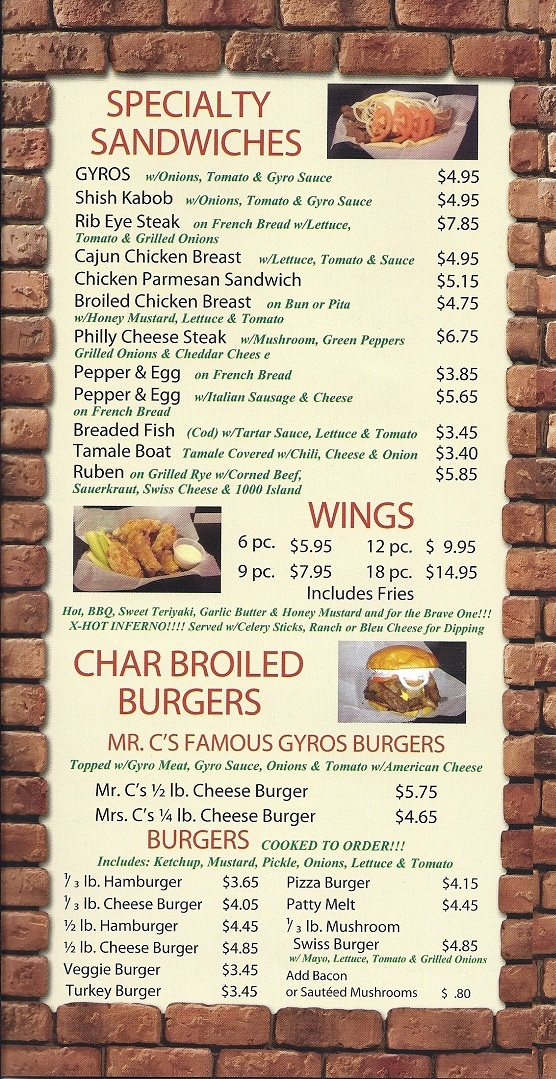 Specialty sandwiches burgers chicken wings gyros for Mr fish menu