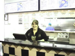 Steph at Mr C's Hot Dogs Catering in Elgin waiting to serve her customers